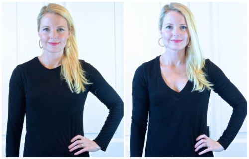 Look Skinnier, v-neck tops and blouses will elongate your upper body