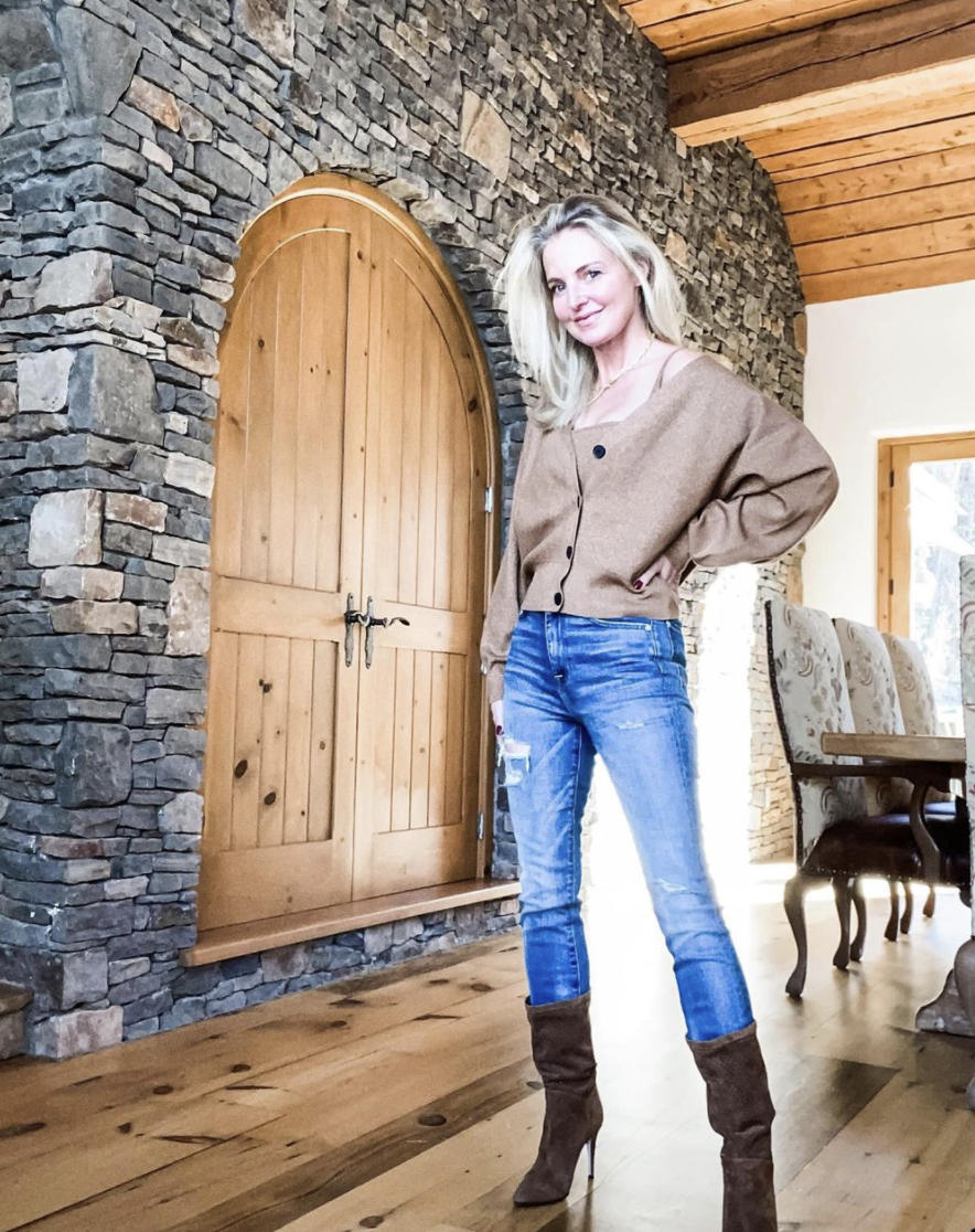 Fashion Trends, Erin Busbee of Busbee wearing a sweater set by A.L.C with jeans and brown booties in Telluride, CO