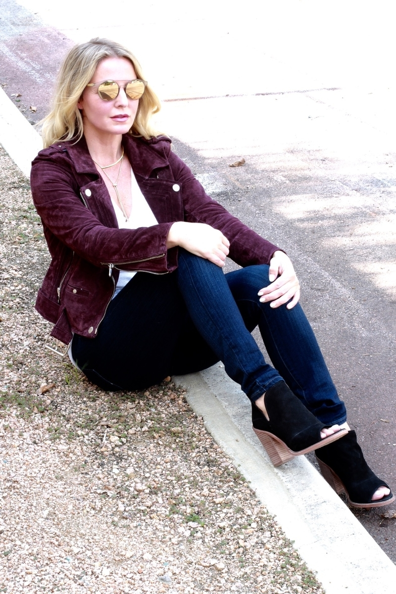 Mom Uniform, cool mom outfits, outfit ideas, nordstrom, moto jacket, blank nyc, suede jacket, skinny jeans