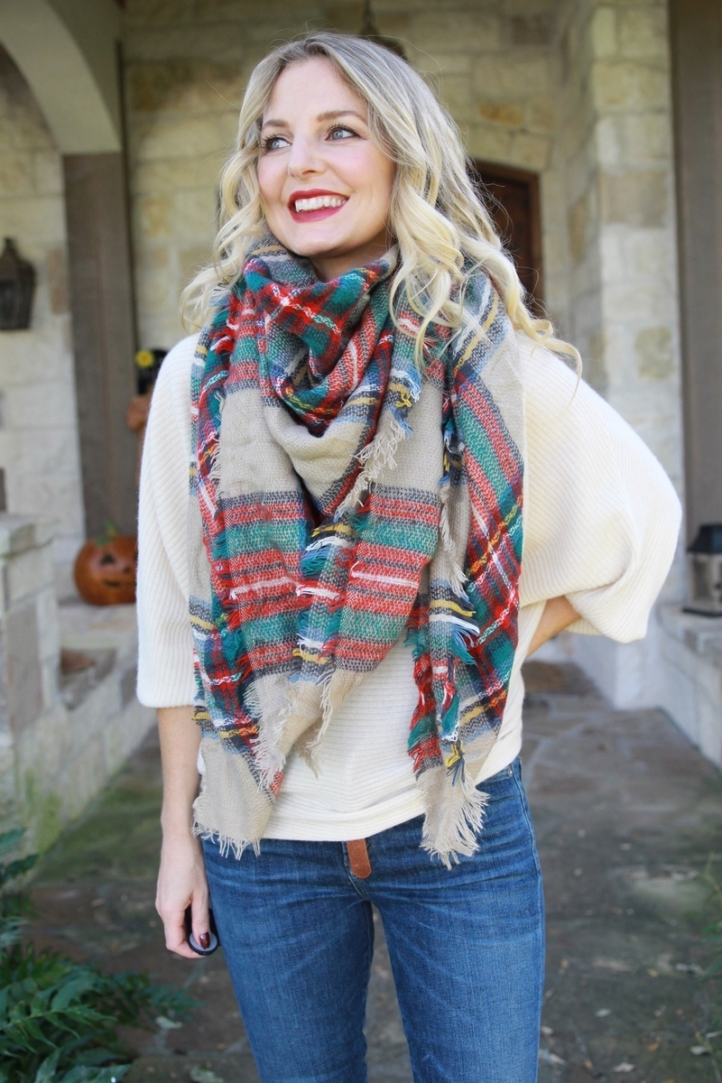 red and green plaid blanket scarf bandana style with v in the front, one of ten ways to wear your scarf