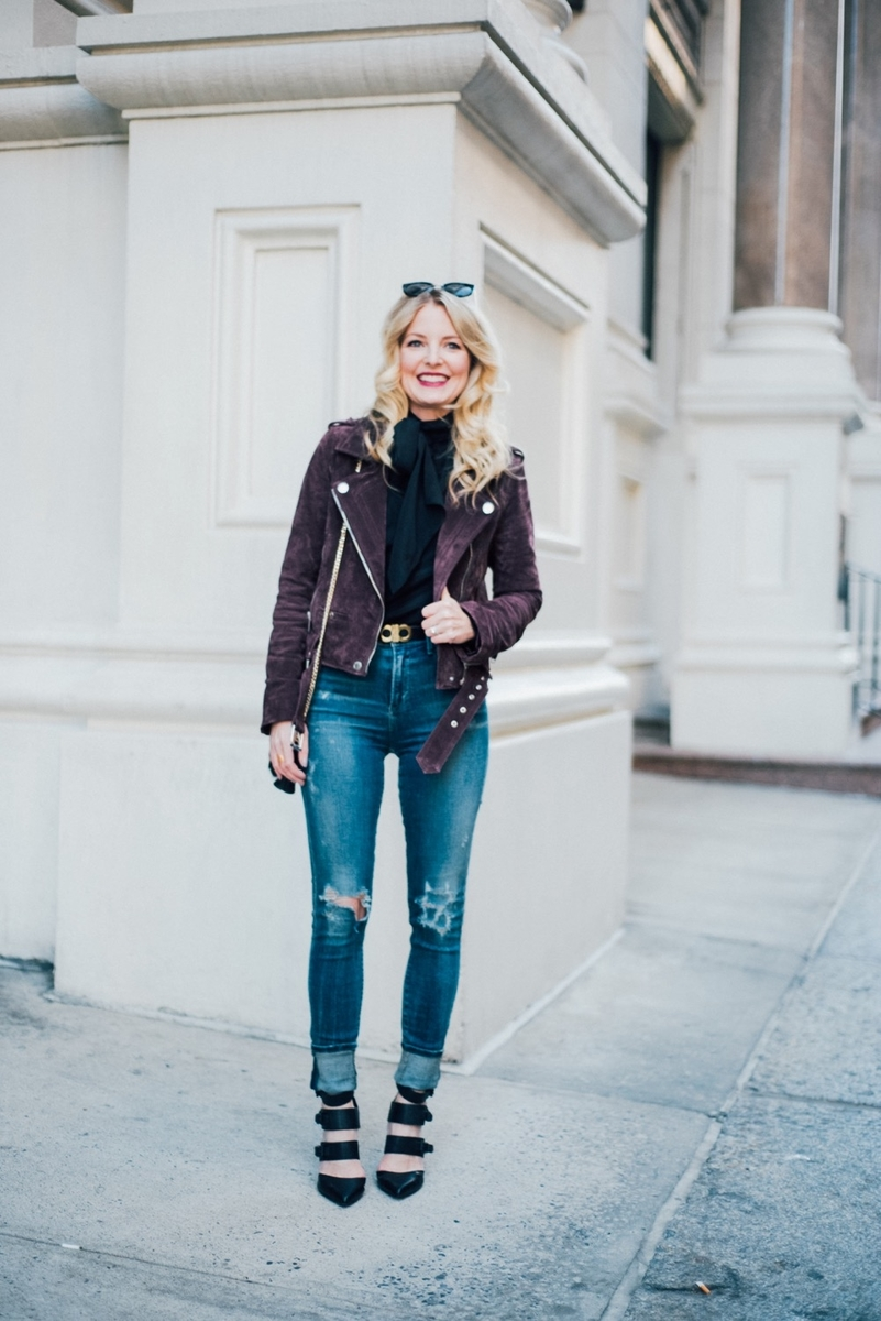 best selling moto jacket, suede by blank nyc, blank babes, model citizen, high rise, skinny jeans with black booties