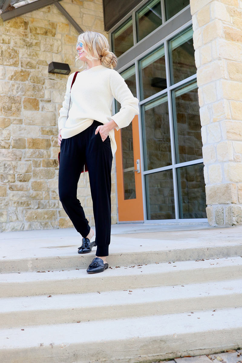 effortless and casual, one idea for the athleisure trend, pair joggers with a sweater and loafers