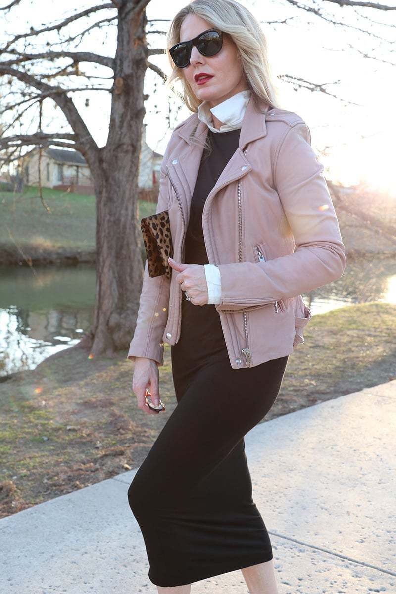 best white button down shirt by Frank and Eileen with softest cotton and collar pops up! I also love this pink moto jacket by Iro