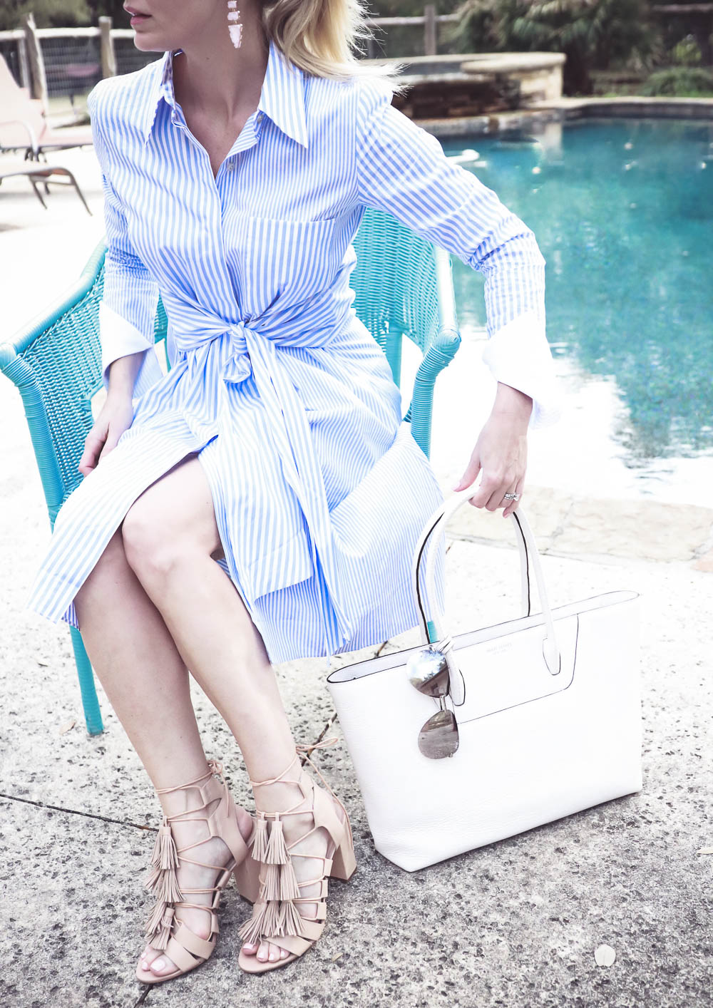 Erin Busbee of BusbeeStyle.com, fashion and lifestyle blogger and youtuber from San Antonio, Texas wearing a striped fit and flare shirtdress from shop bop, Henri Bendel white tote and quay mirrored aviator sunglasses and loeffler randall nude tassel sandals with block heel