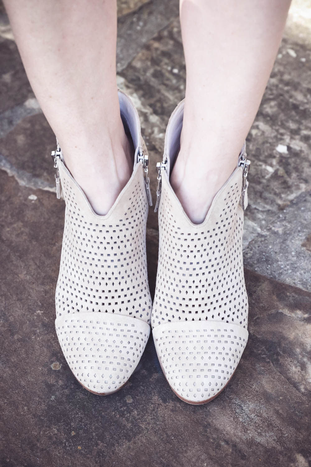 spring wardrobe basics, spring booties by Rag and bone from nordstrom in beige with perforations worn by Erin Busbee of busbeestyle from san antonio texas, fashion blogger and youtuber