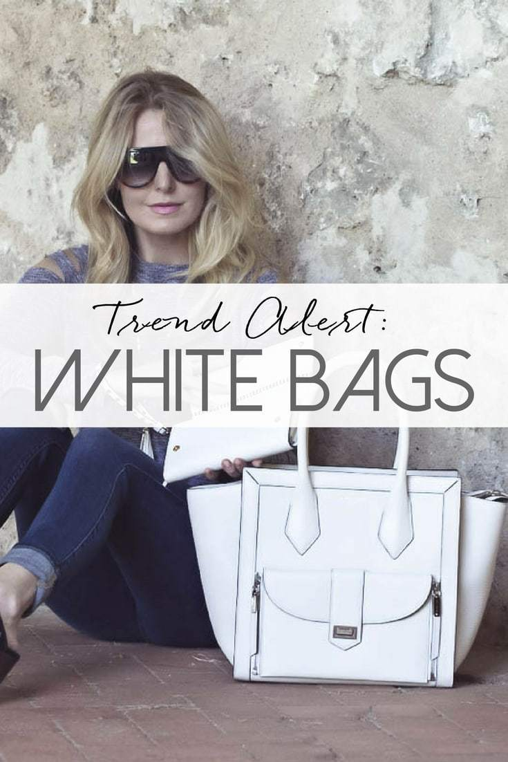 White bags fashion trend spring 2017, white bags are white hot! They are neutral, versatile and stylish!! Post by Erin Busbee of BusbeeStyle, fashion blogger and youtuber over 40