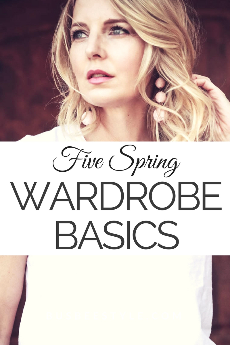 Five Spring Wardrobe Basics with nordstrom including white tee white sweater, skinny jeans booties and black pants