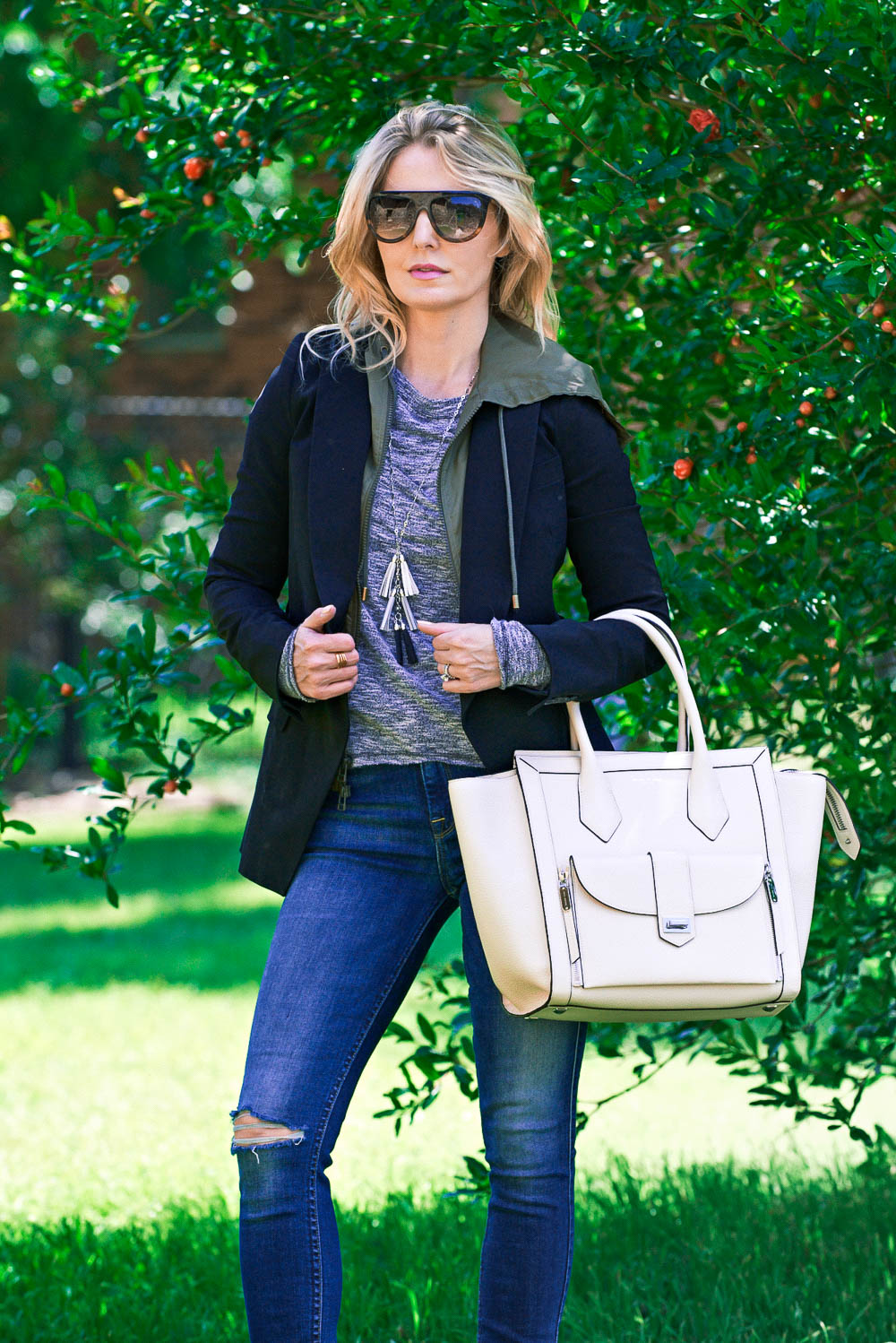 White bags, these white handbags, hand-picked by Erin Busbee, Fashion Blogger and YouTuber for busy women over 40, are from Henri Bendel. They are versatile, neutral...perfect everyday handbags!