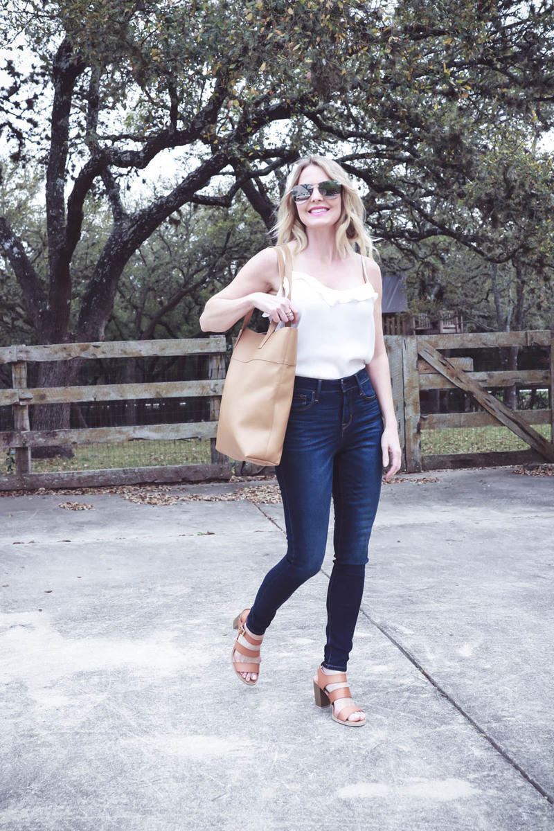 spring outfit ideas and mini capsule wardrobe, easy and affordable spring clothing, skinny jeans, sandals, scarves, blazer, striped top and tote bag-ruffle cami