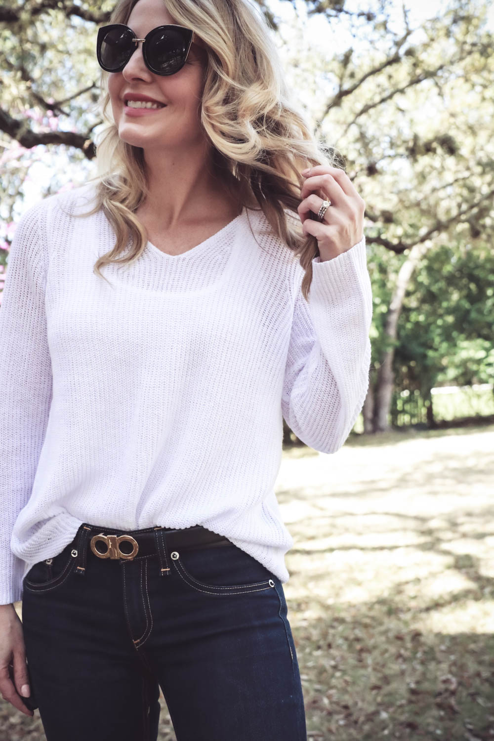 Spring wardrobe basics with erin busbee, fashion blogger and youtuber from san antonio, texas featuring a white cotton vneck sweater by Eileen Fisher