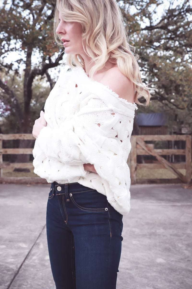 spring wardrobe basics with fashion blogger and youtuber erin busbee of busbeestyle and nordstrom featuring rag and bone jeans and a free people white off shoulder sweater