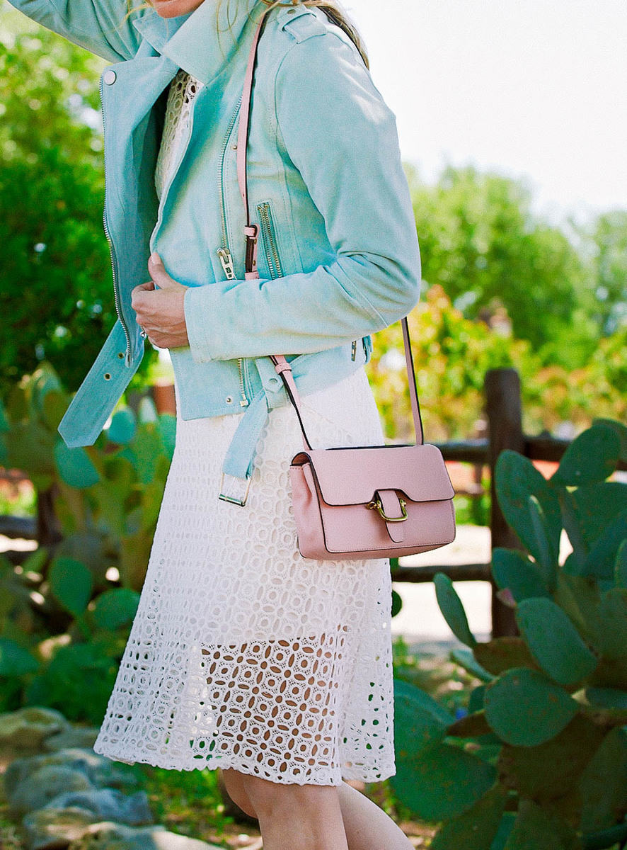 3 ways to wear a moto jacket, featuring this gorgeous mint green suede jacket by Blank nyc from nordstrom on Erin Busbee, Fashion blogger and youtuber in Fredericksburg, texas at Wildseed farms