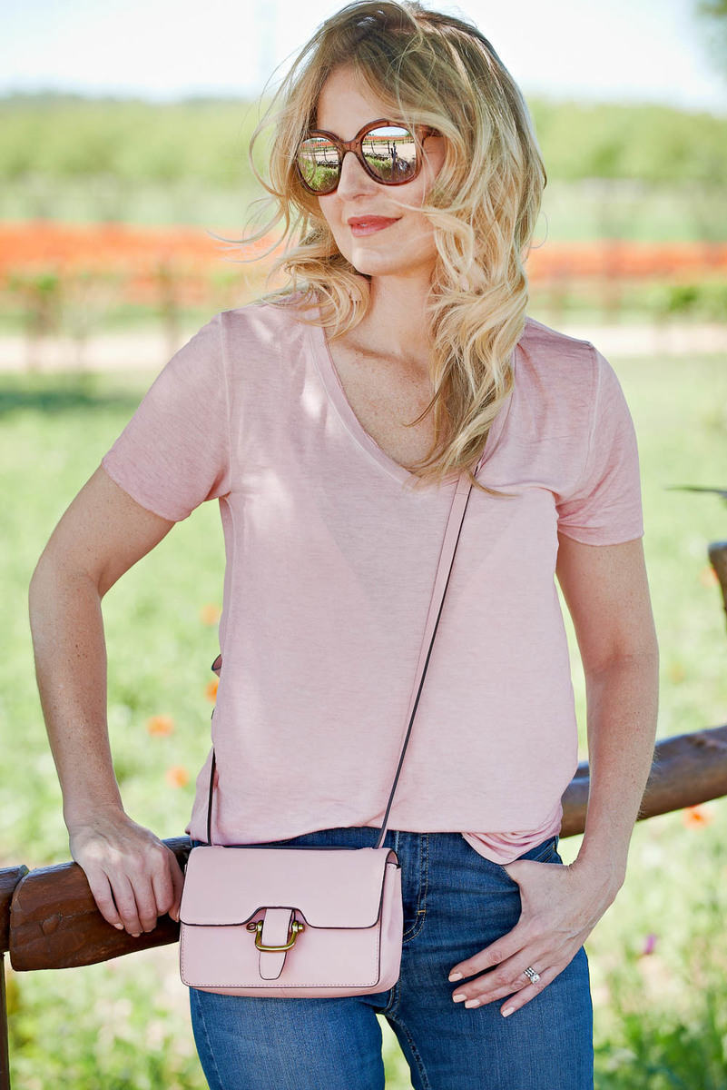 how to wear pastel colors, featuring a vneck, pink t-shirt by BP from nordstrom, by fashion blogger and youtuber erin busbee at wildseed farms in fredericksburg, texas