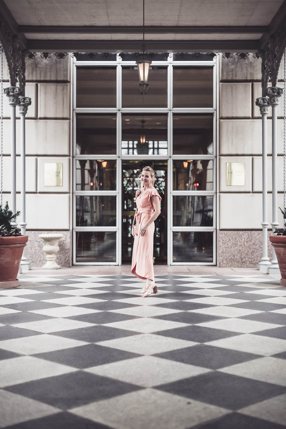 Pink, peach, blush, nude dresses are very much on trend now, I love this Misa wrap dress with the flutter sleeve that I paired with peach bow mules by Avec les filles and the chloe nile bag from Saks Fifth Avenue