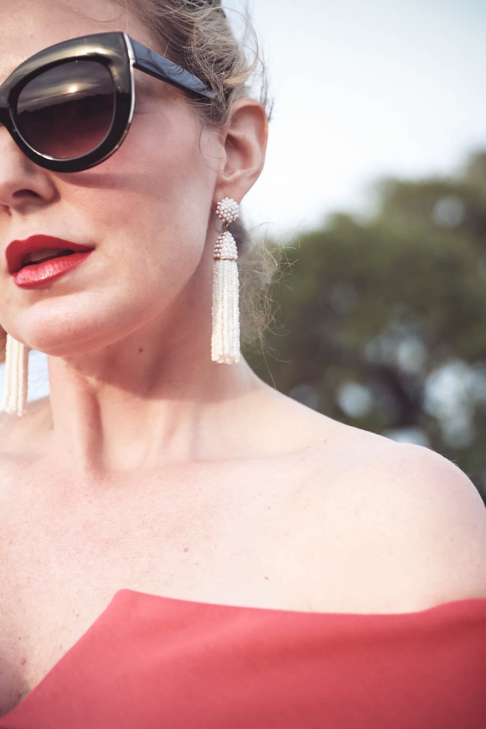 White tassel earrings by Baublebar, What to wear to a wedding as a guest, women's dresses, outfit ideas for special events and weddings, fashion over 40, Featuring Erin Busbee, BusbeeStyle.com, fashion blogger and Fashion youtuber for busy women over 40