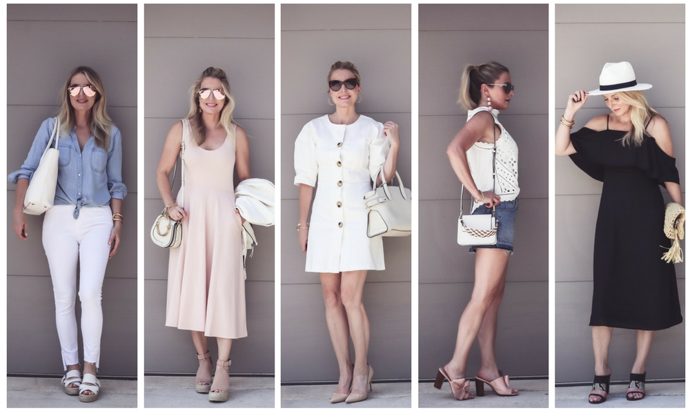 Summer Outfit ideas with fashion blogger and youtuber Erin Busbee of busbeestyle.com, busbee style, featuring 5 summer outfits, including a pale pink midi dress by Leith, a black cold shoulder dress from Amazon, black and white fedora from Nordstrom, open toe mules from M.Gemi and Avec Les Filles, bow shoes, mom shorts from Topshop, an eyelet sleeveless top from Anthropologie, and white split seam jeans by Topshop