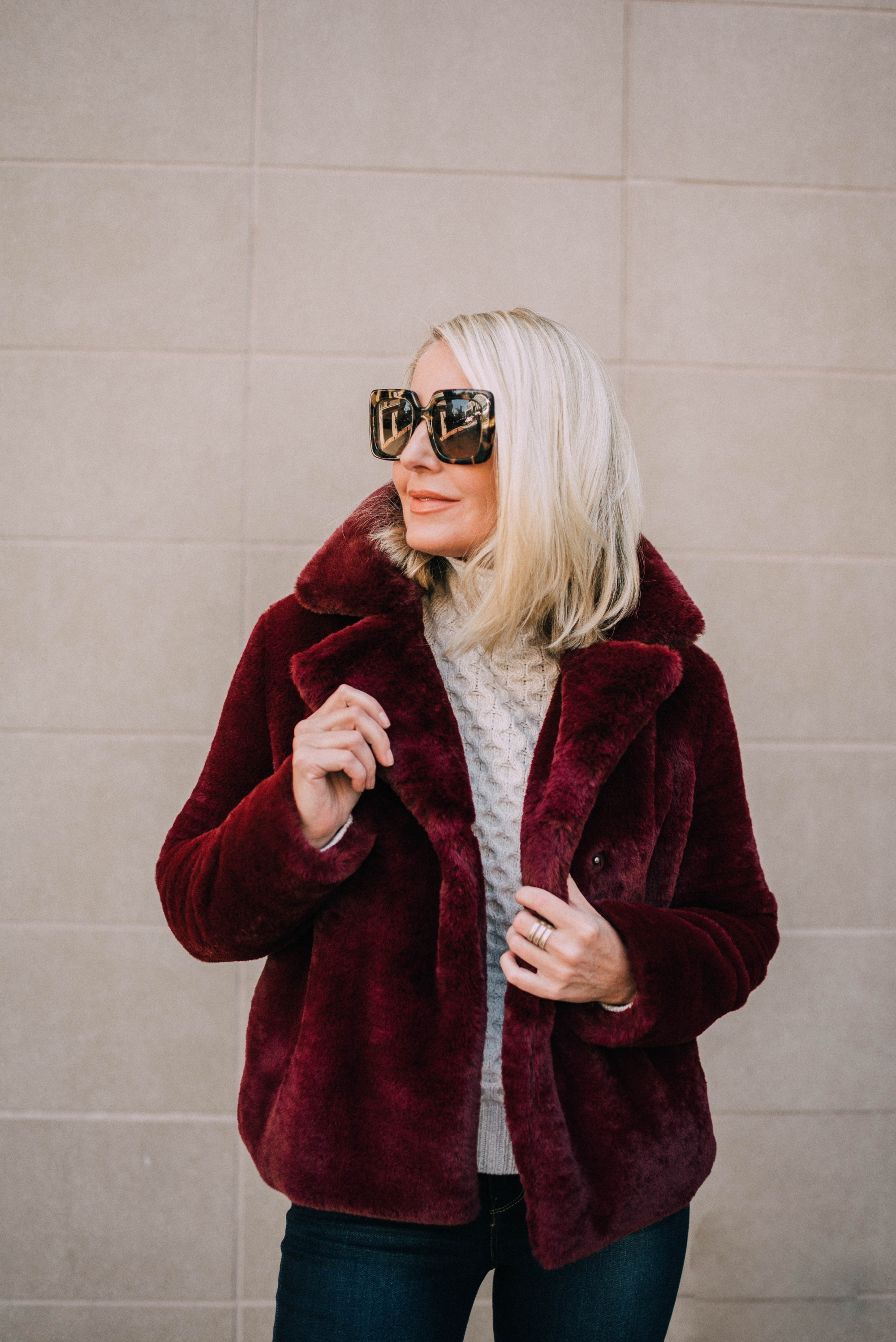 Frame burgundy faux fur jacket nordstrom anniversary sale fashion blogger fall winter outfit
