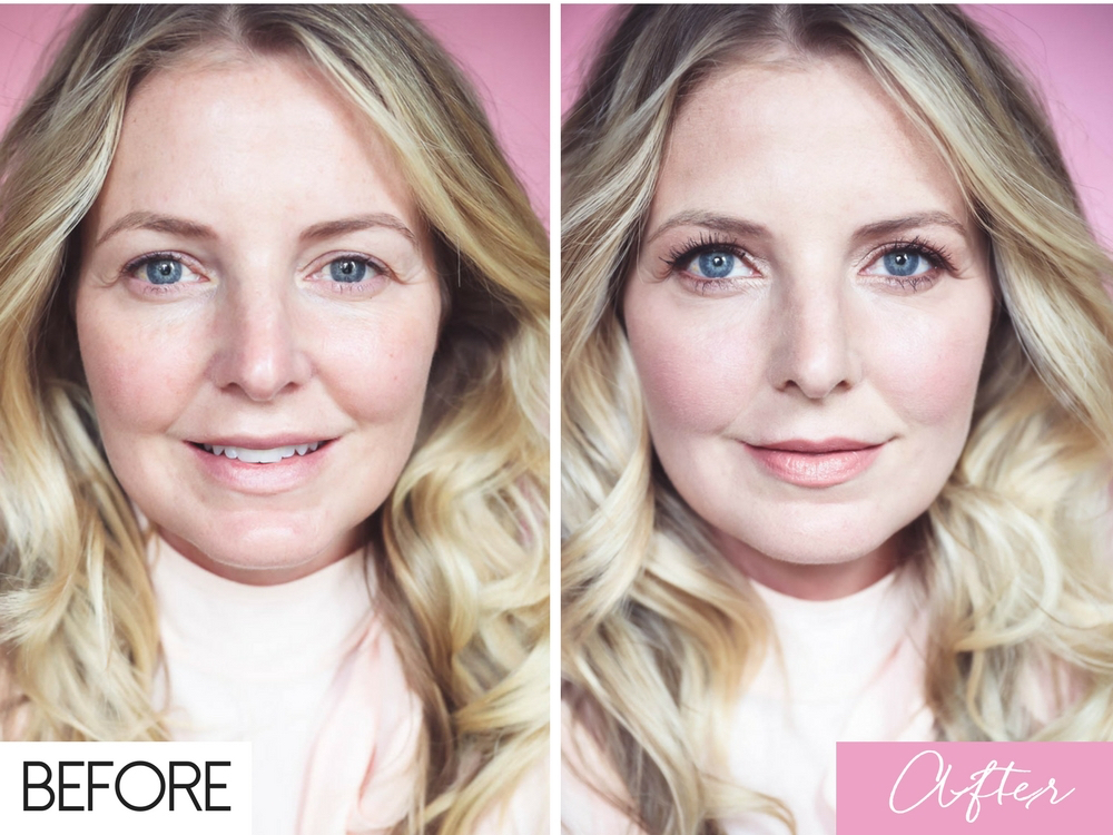 5-Minute Makeup Routine, before and after pictures