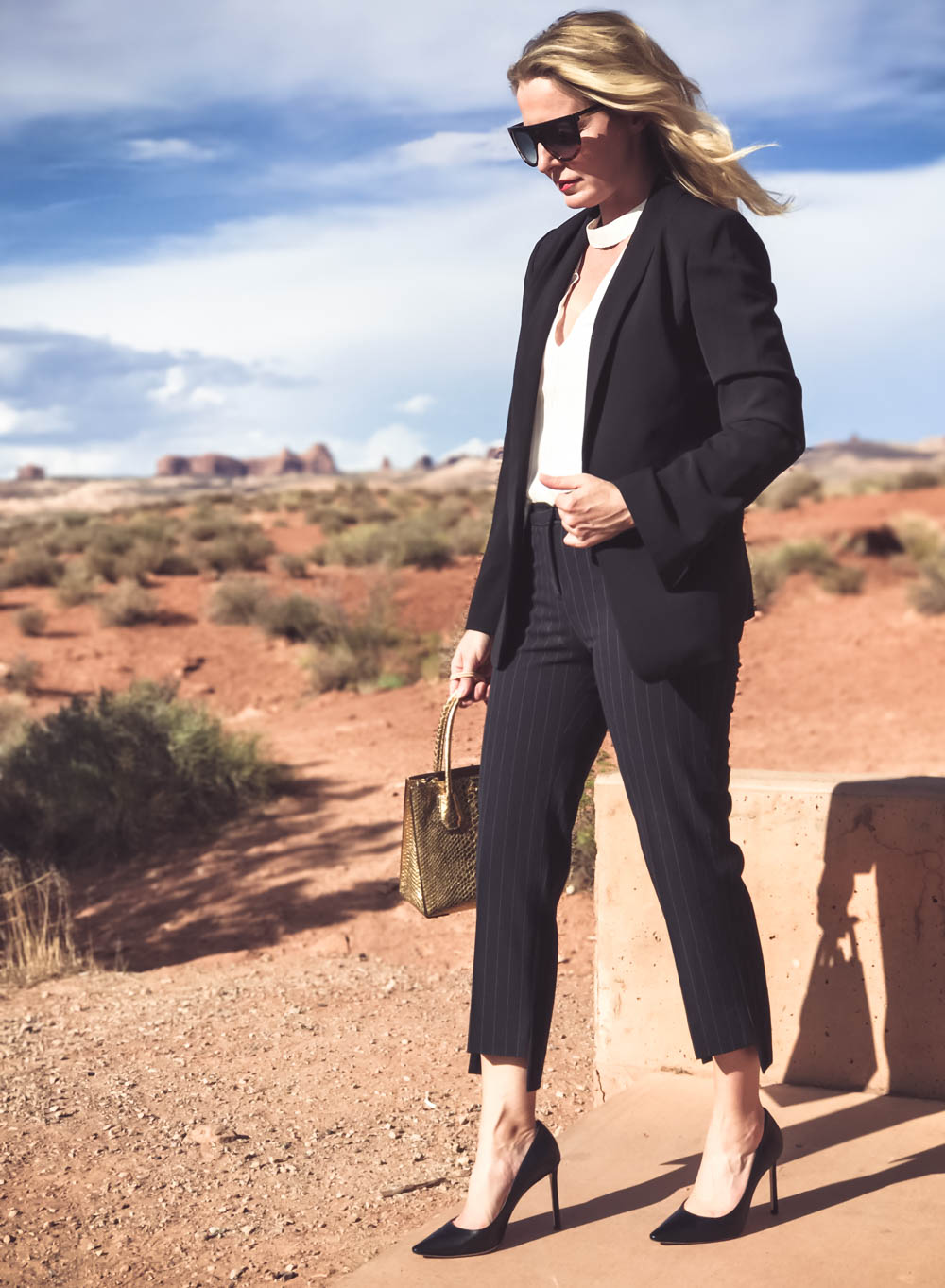 Business Casual Outfit ideas, cropped pants to work, pinstripe cropped pants with black blazer and white choker blouse with black jimmy choo pumps in Moab, Utah on fashion blogger, Erin Busbee, Busbee Style