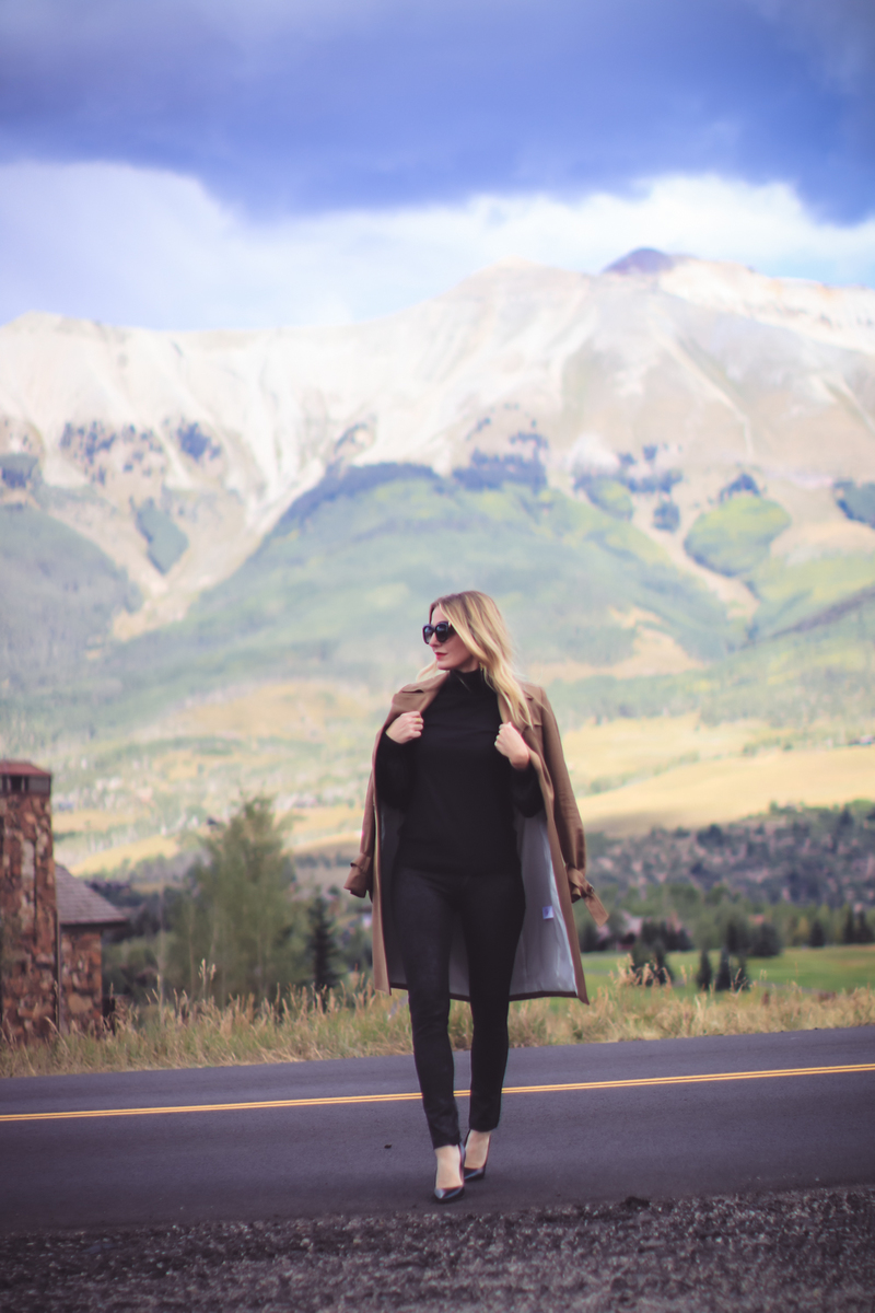 Trench Coat Styled 5 Ways | Fashion Over 40 | Busbee Style, all black, turtleneck, leggings, and pumps