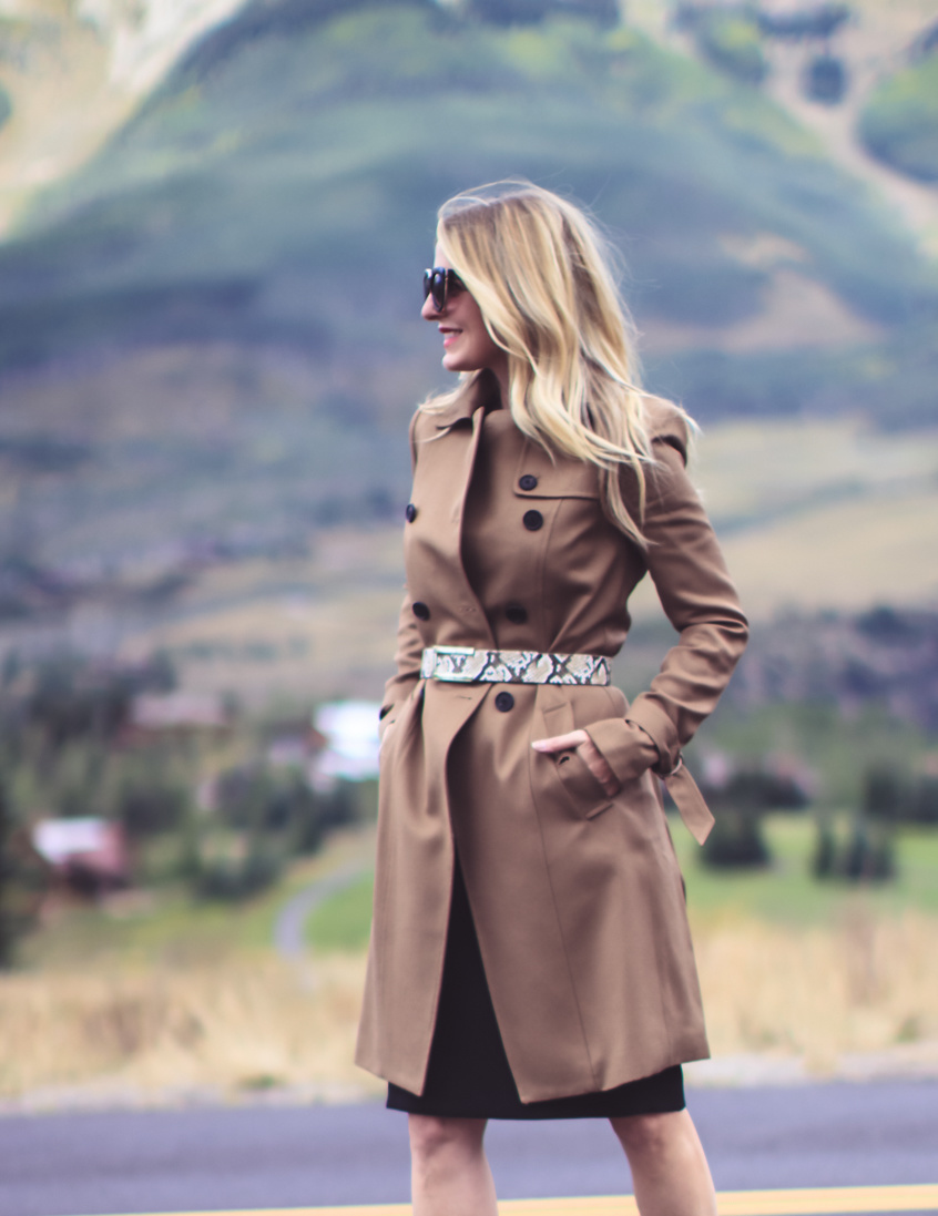 Trench Coat Styled 5 Ways | Fashion Over 40 | Busbee Style, little black dress, strappy heels, belt