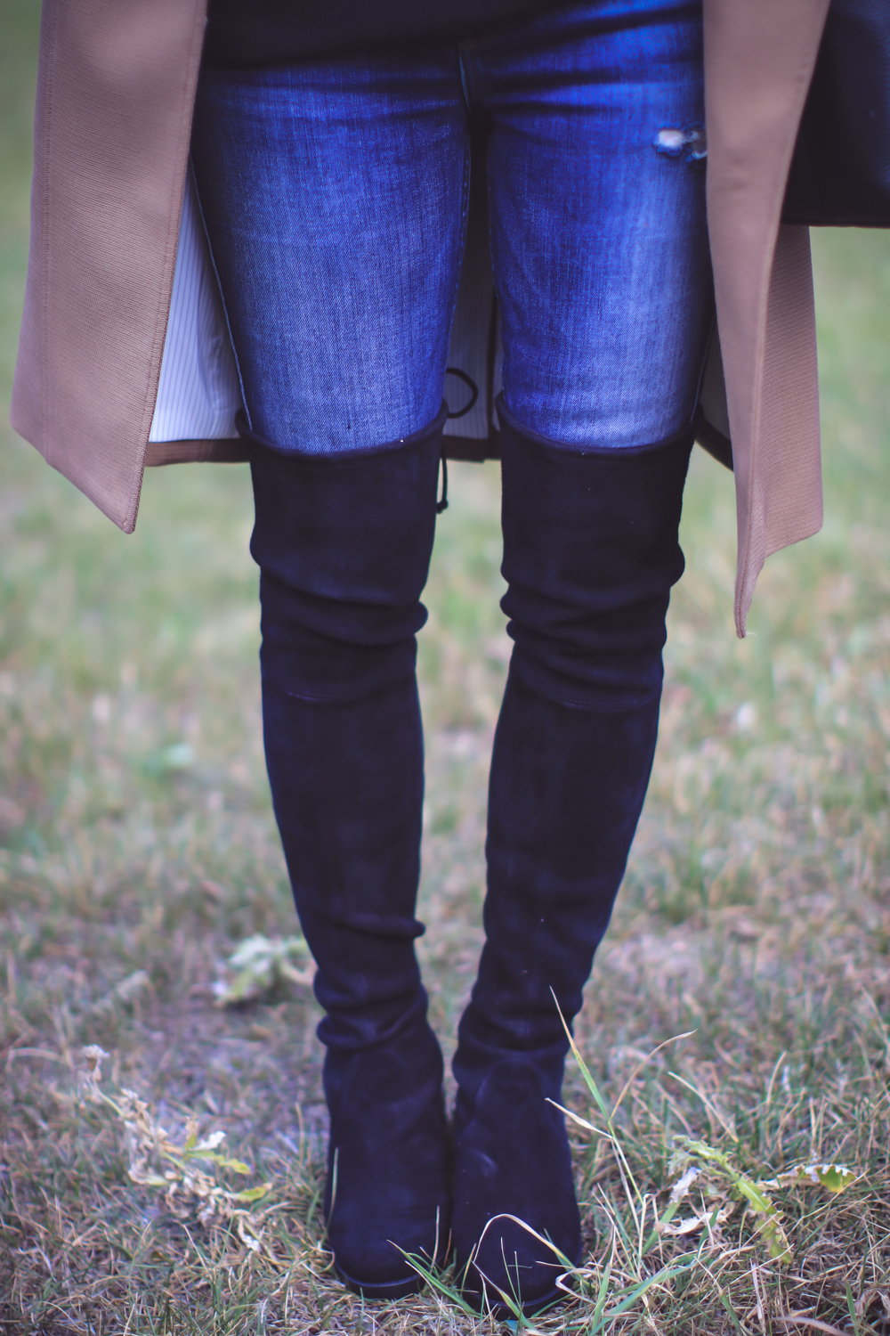 Trench Coat Styled 5 Ways | Fashion Over 40 | Busbee Style, cashmere sweater, denim jeans, and tall boots