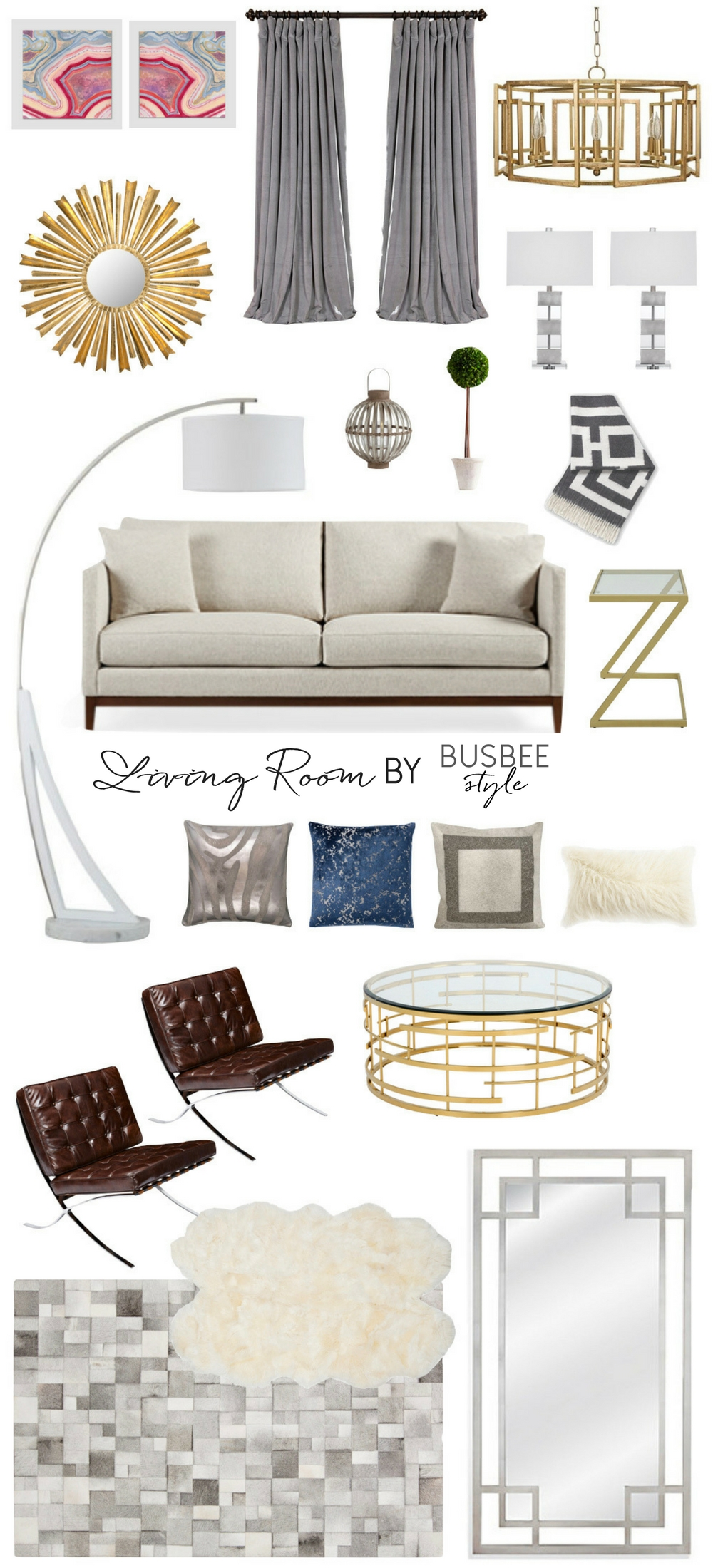 Living Room decor inspiration, by lifestyle blogger erin busbee of busbee style, including pieces from west elm, gilt, arhaus, pottery barn, mayfair, amazon