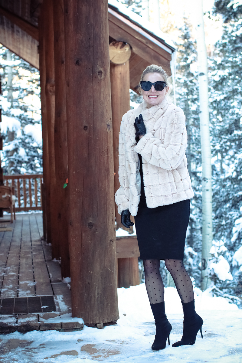 kristen black faux fur jacket outfit for going out black lace tights black skirt fashion blogger outfit