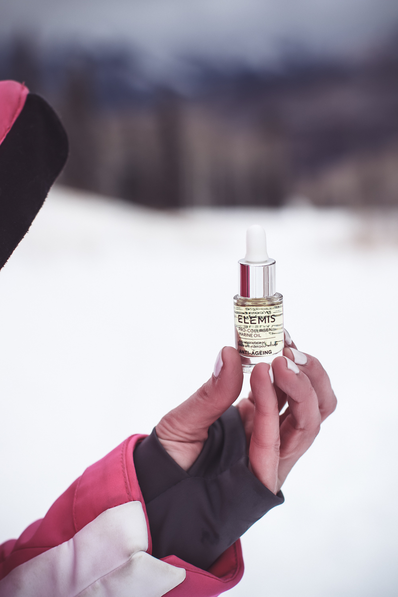 Travel Skincare Routine, the perfect skincare set or kit for travel, featuring this Elemis 3-piece starter kit with oil from QVC tested by beauty blogger over 40, Erin Busbee of Busbee Style in Telluride Colorado, snowy mountains