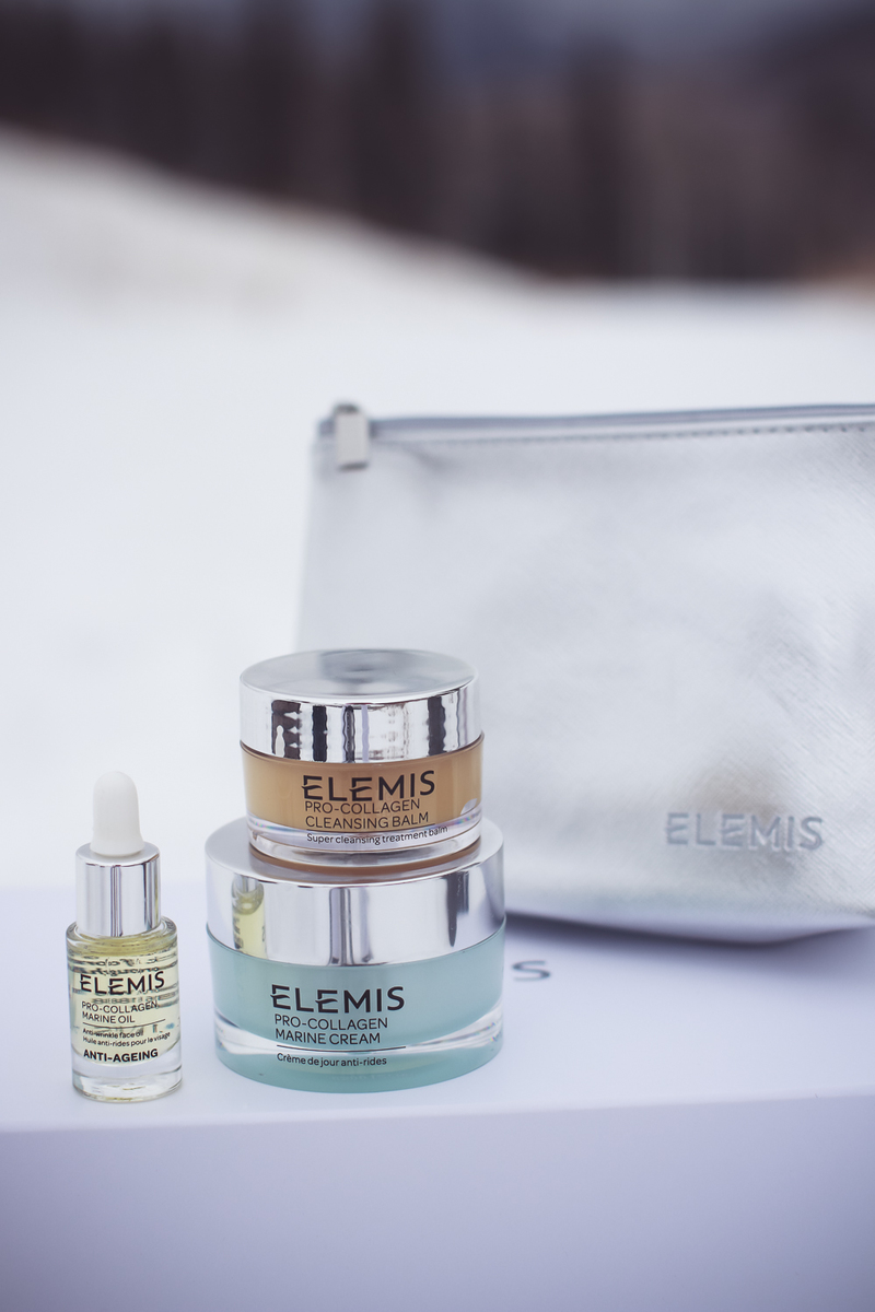 Travel Skincare Routine, the perfect skincare set or kit for travel, featuring this Elemis 3-piece starter kit from QVC tested by beauty blogger over 40, Erin Busbee of Busbee Style in Telluride Colorado, snowy mountains
