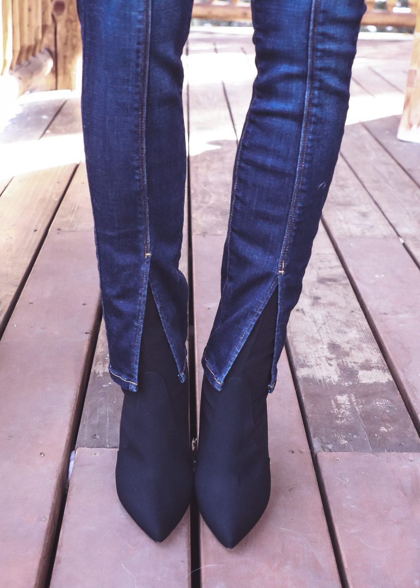 Wearing Boots with Jeans | Black sock boots with split hem jeans