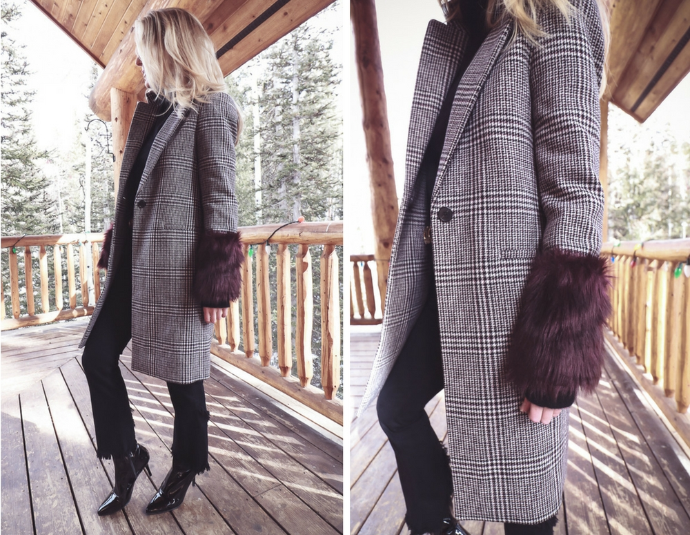 Style uniform | four casual go-to outfit ideas for women over 40, featuring cashmere black turtleneck, plaid faux fur coat by Club Monaco, Citizens black cropped, frayed jeans and Stuart Weitzman patent boots on fashion blogger Erin Busbee of Busbee Style