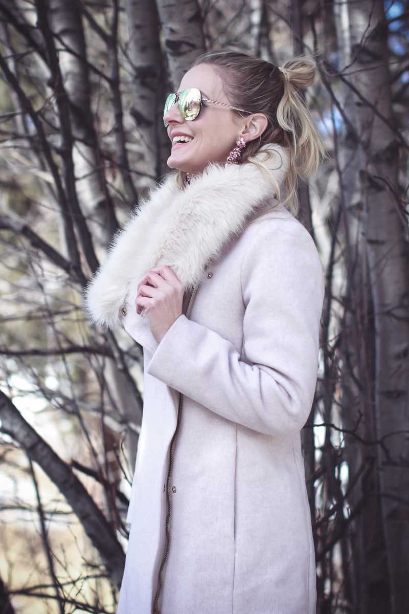 Faux Fur Coat, glam winter coat option in pale pink by Club Monaco on Fashion blogger, Erin Busbee of BusbeeStyle.com in Telluride, Colorado