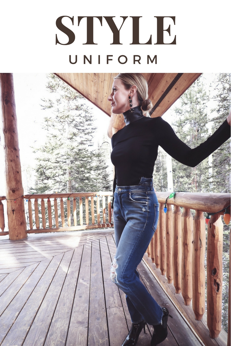Style uniform | four casual go-to outfit ideas for women over 40, featuring Helmut Lang faux leather mock neck turtleneck, Mother dazzler shift jeans and Stuart Weitzman patent boots on fashion blogger Erin Busbee of Busbee Style
