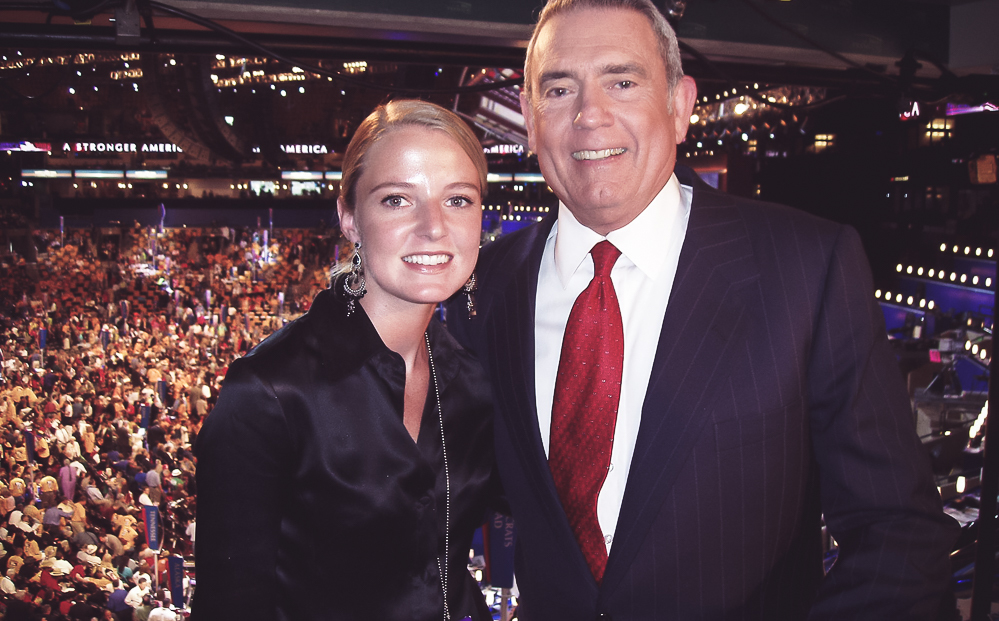 Erin Busbee with WCBS TV at the Democratic National Convention with Dan Rather of CBS