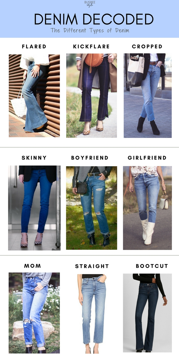 Denim Types, featuring the different styles of denim that are on trend, with fashion blogger over 40, Erin Busbee of BusbeeStyle.com