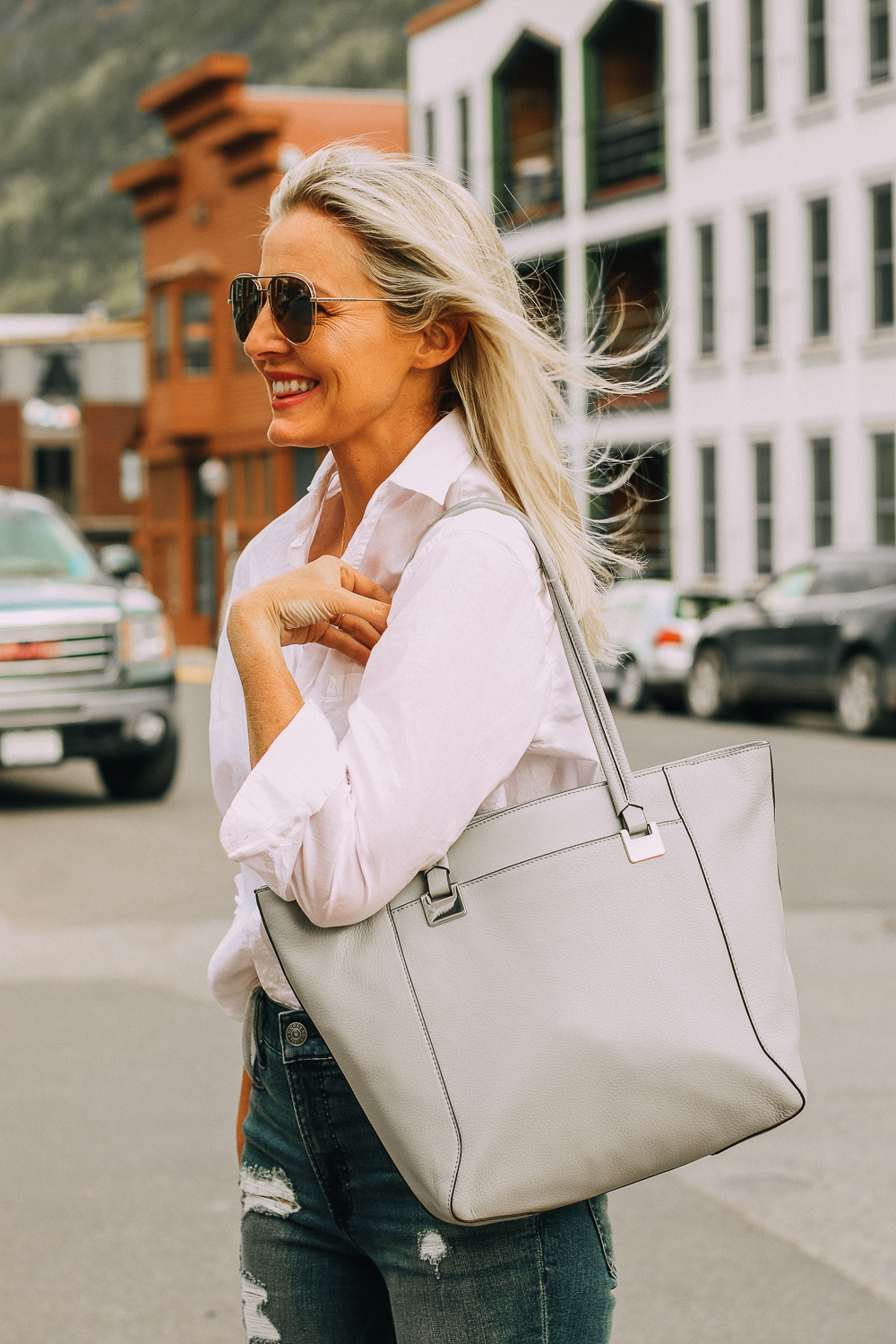 Vince Camuto gray tote bag paired with white button down frank and eileen shirt
