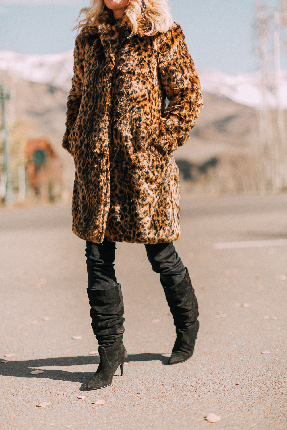 J.Crew faux fur leopard coat with slouchy knee high boots blogger outfit for fall and winter