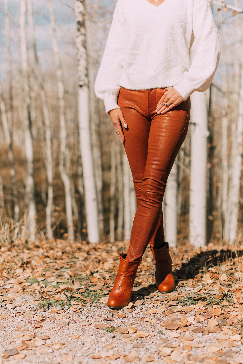 Brown Leather Pants by Frame and how to style leather pants