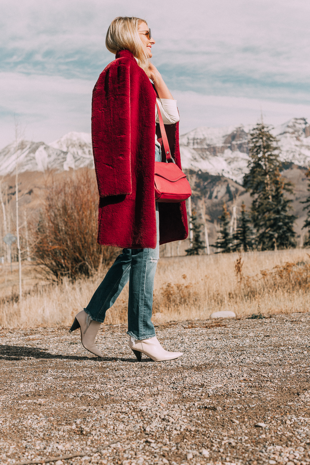 velvet faux fur reversible coat red and suede fashion blogger busbee style