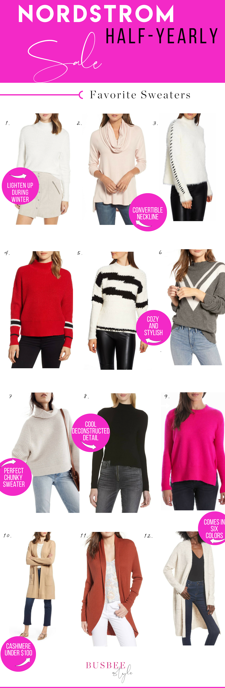 Erin Busbee of BusbeeStyle.com sharing 12 of the best sweaters and cardigans for the Nordstrom Half-Yearly Sale of 2018