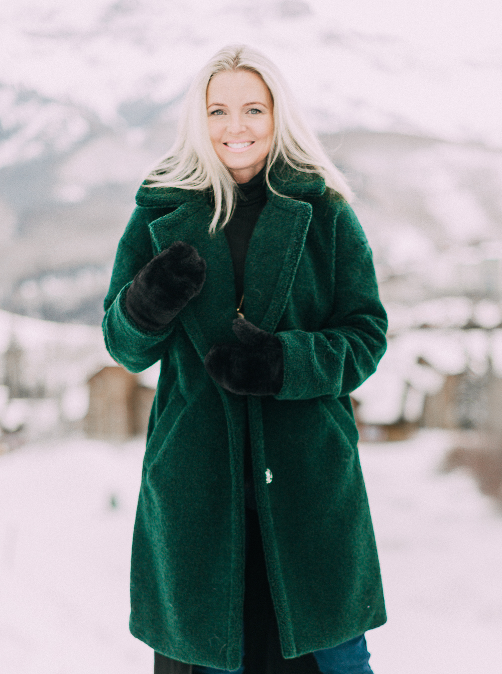 kendall kylie fuzzy green coat outfit perfect for christmas on fashion blogger busbee style