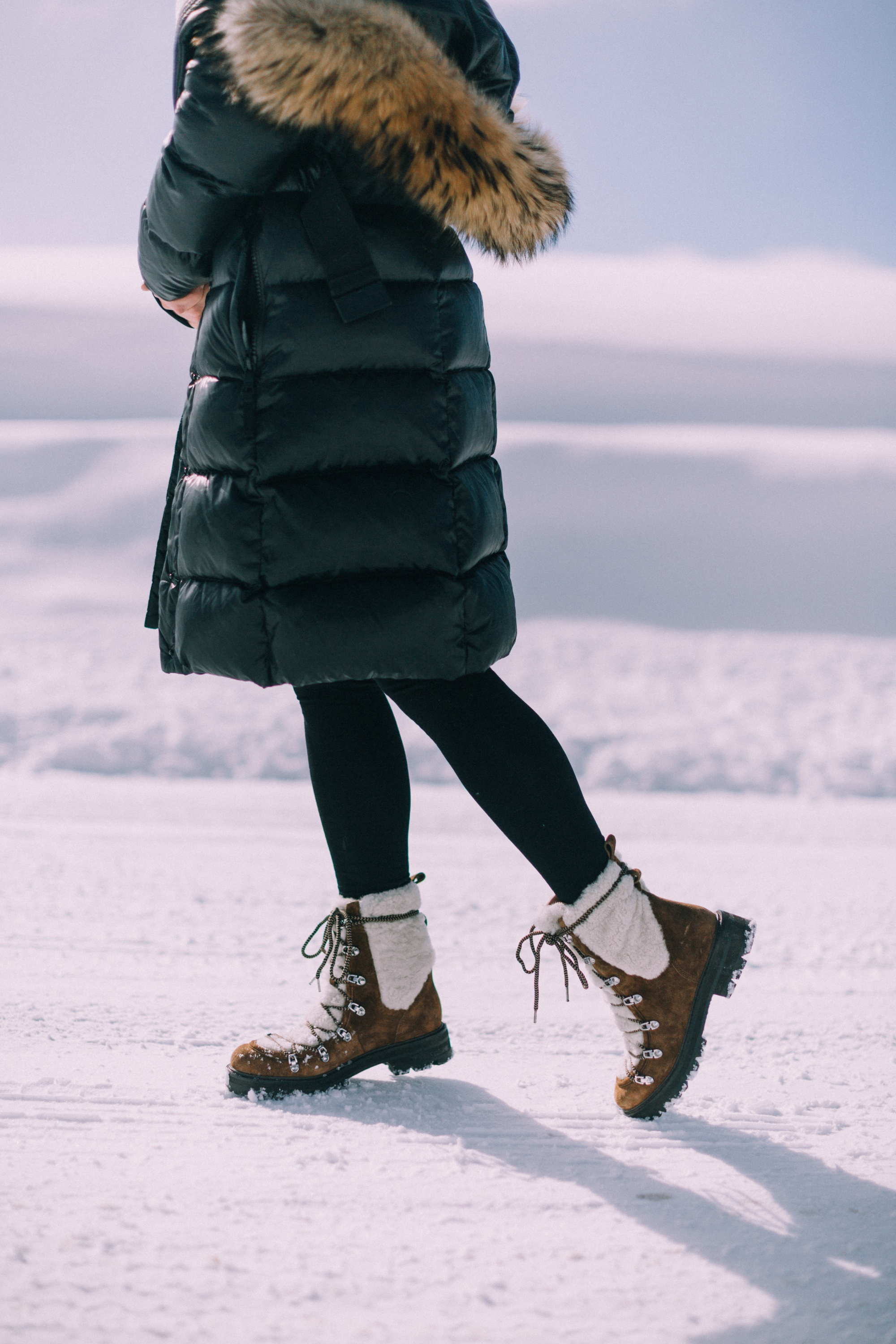 How to wear Spanx leggings over 40 outfit with Sigerson Morrison isla fur boots SAM puffer coat in snow