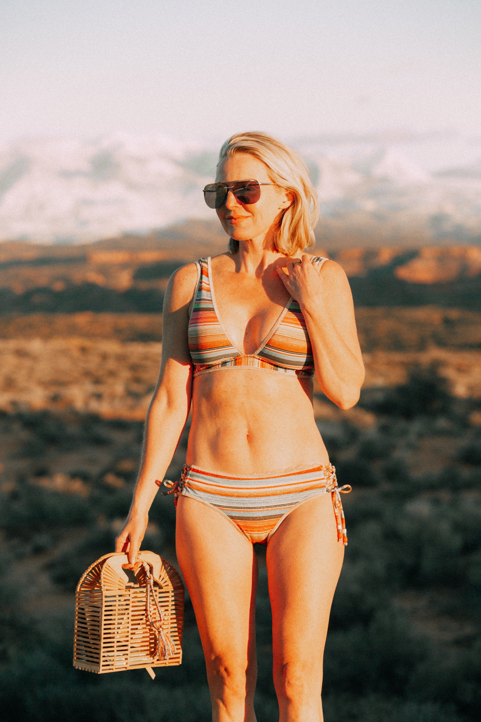 full coverage metallic stripe bikini for women over age 40 by becca from everything but water with vince camuto bamboo cage clutch