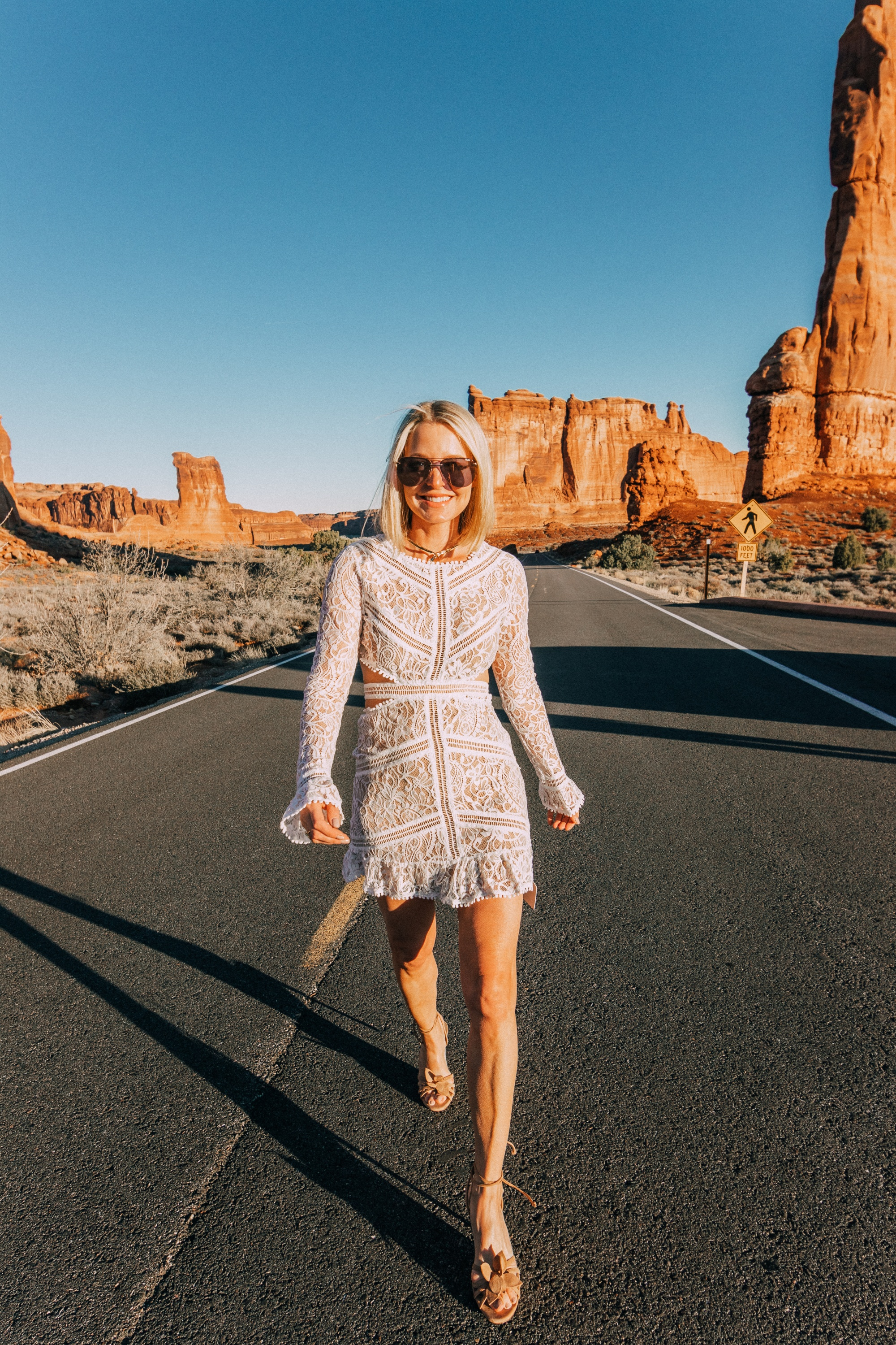 For Love and Lemons Emerie cutout white lace dress LWD on fashion blogger over 40 years old