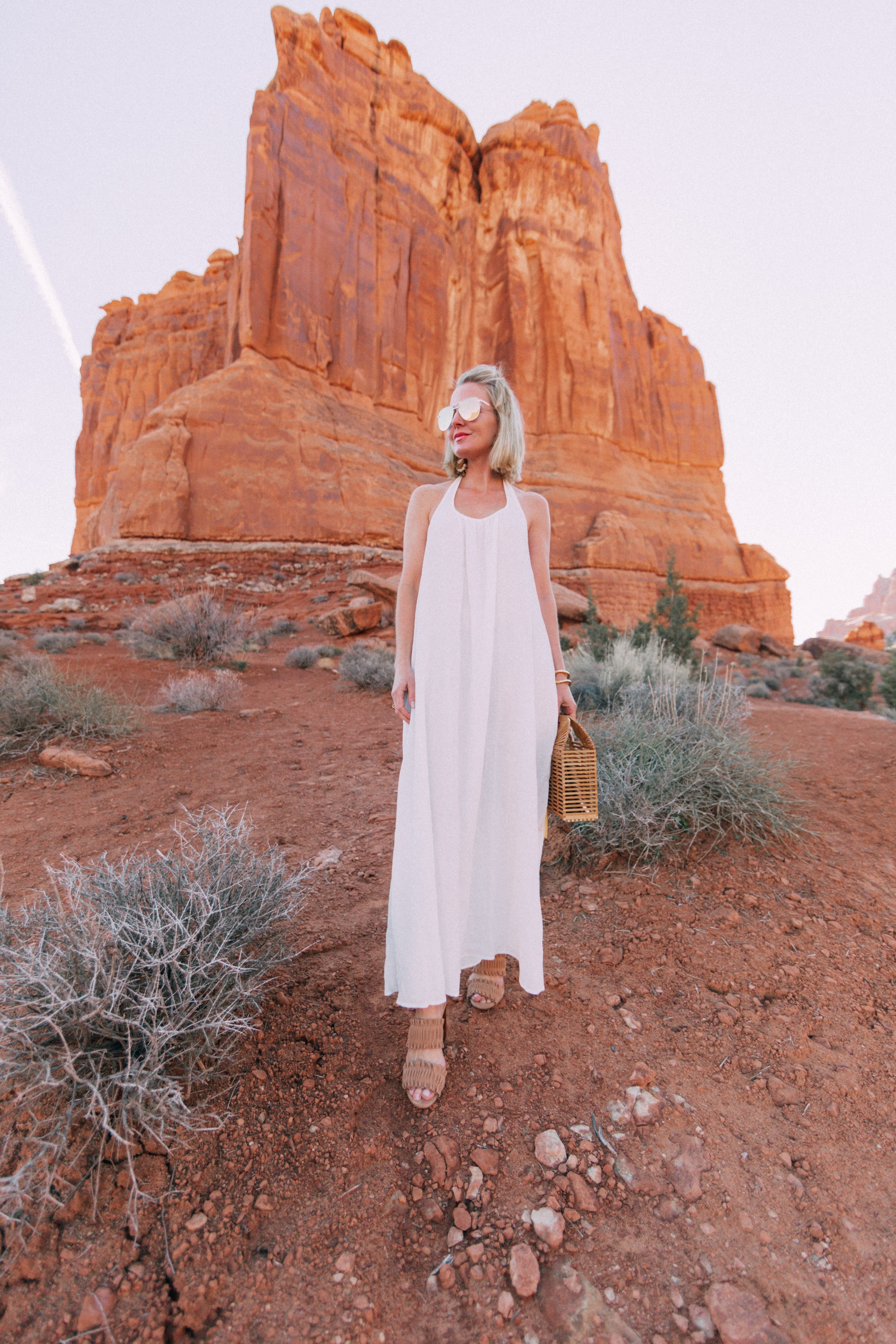 white maxi 9seed coverup with Ann Taylor heels and Vince Camuto bag in Moab, Utah