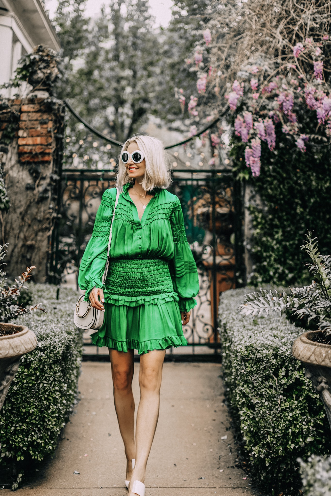 Green dress by Alexis on fashion over 40 blogger Erin Busbee