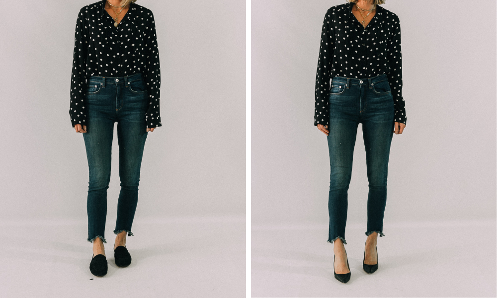 style trick for looking slimmer and skinnier by wearing high heels to lengthen body to appear taller