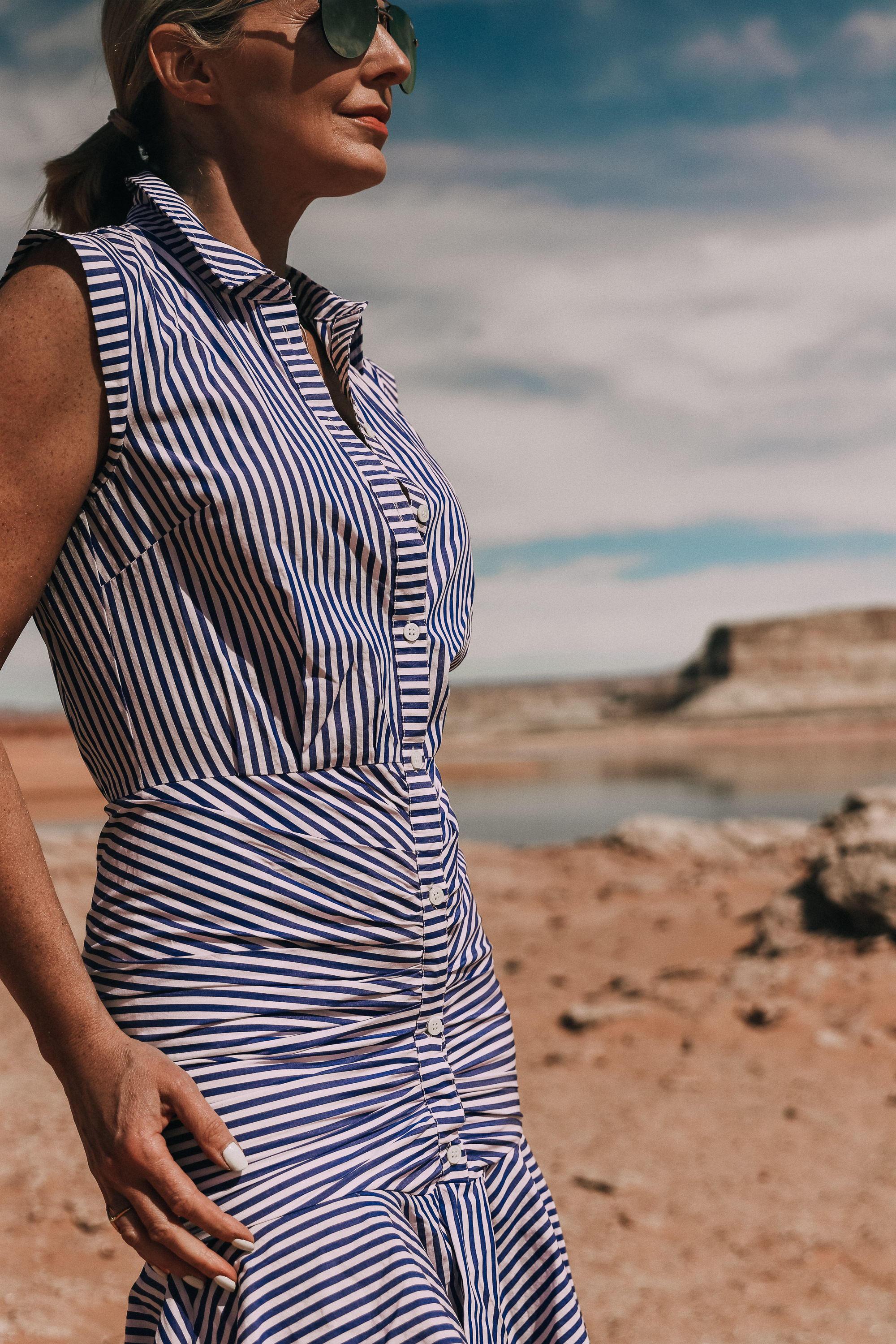 vernonica beard blue and white striped bell button down shirt dress worn by fashion blogger busbee style in lake powell