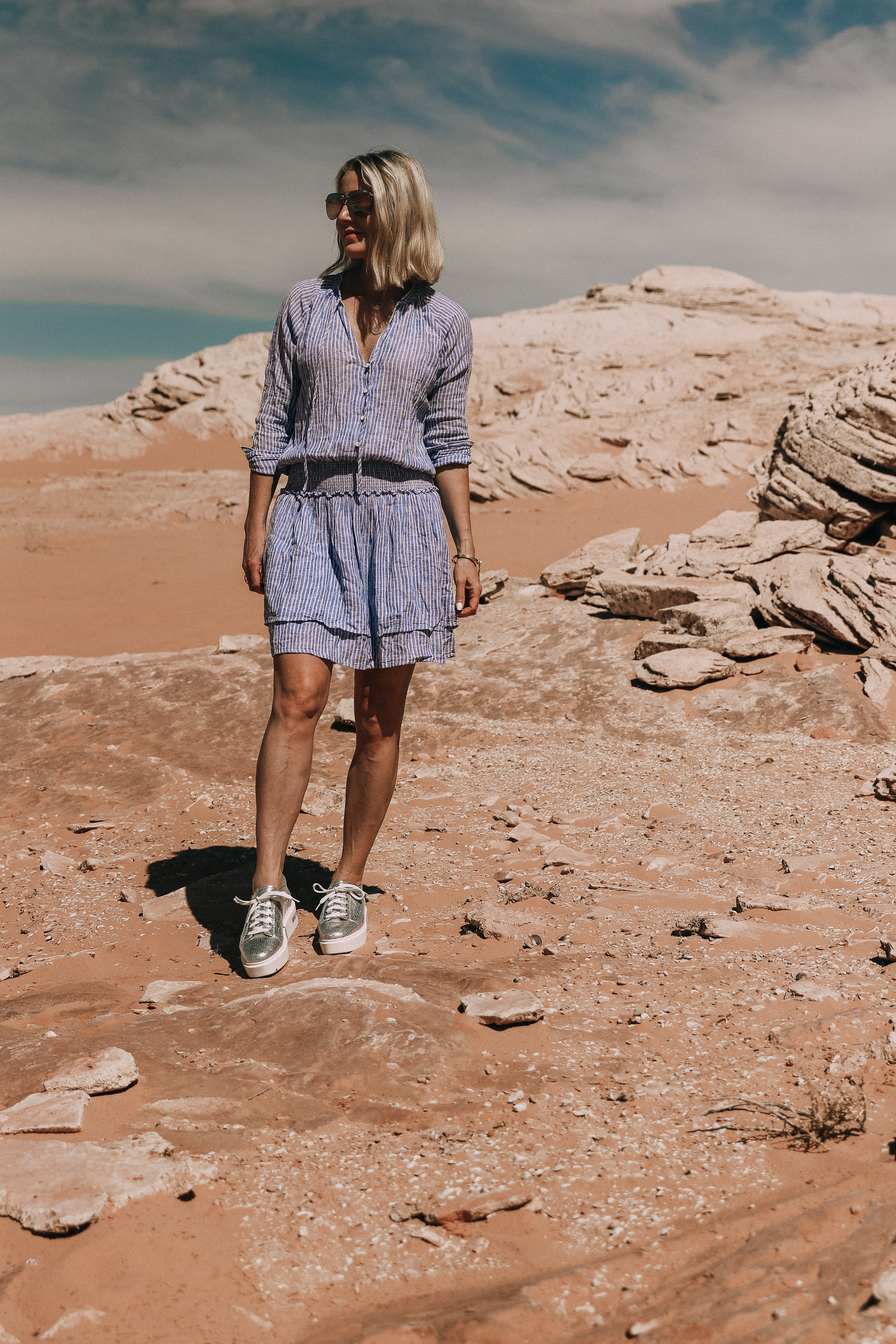 RAILS jasmine striped blue and white dress worn with linea paolo metallic silver kendra platform sneaker in lake powell by fashion blogger busbee style